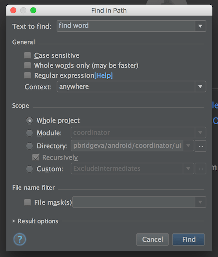 Android Studio Find in path